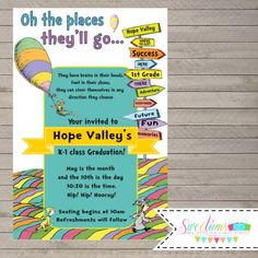 Dr Seuss Preschool Graduation Invitation Kindergarten