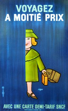 Demi Tarif SNCF Woman Blue (1968) by Raymond Savignac