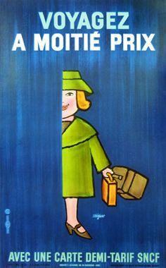 Demi Tarif SNCF Woman Blue (1968) by Raymond Savignac