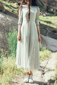 Floral Embroidery Half Sleeves Maxi Dress