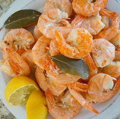"Add large bag of frozen wild shrimp to Instant Pot + cup water + 2 bay leaves + 1 tbsp coriander seeds. Set to ""Steam"" for 2 minutes for regular and 3 minutes for large shrimp. Vent once timer elapses + serve with fresh lemon! Frozen Cooked Shrimp, Steamed Shrimp, Shrimp Dishes, Shrimp Recipes, Fish Recipes, Instant Pot Steam, Potted Shrimp, Pressure Cooking Recipes, Instant Recipes"