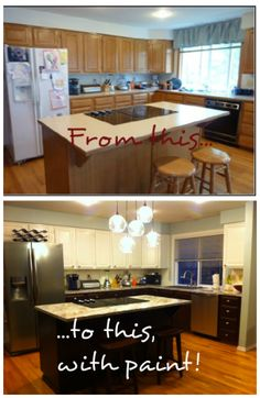 Budget kitchen renovation - with painted cabinets and countertops! #kitchen #kitchencabinets #countertops #DIY