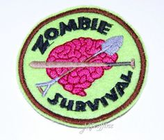 Zombie Survival Brains Green Patch Embroidered Iron On MTCoffinz $6