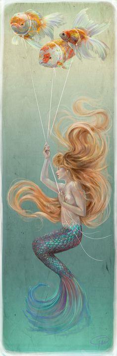 Sirena con Globos de peces Dorados by MissTakArt.deviantart