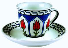 İznik tile Turkish coffee cup / İznik çinisi kahve fincanı - Anikya İznik Çini -İstanbul