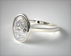 18k White Gold Bezel Solitaire Engagement Ring (Oval)   17254W - Mobile