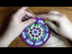 Round by round instructions for an overlay crochet mandala Crochet Squares, Crochet Granny, Crochet Motif, Knit Crochet, Crochet Patterns, Crochet Jar Covers, Crochet Videos, Tapestries, Coaster