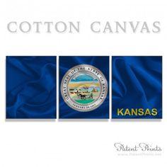 Kansas State Seal and Flag Canvas Print