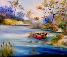Tableau d'une barque au bord d'un lac bleu le matin de bonne heure @ Biscaxelle : Peintures par biscaxelle