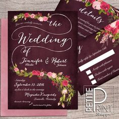 Floral Wedding Invitation, Printable Wedding Invitation, Invitation Suite, Plum, Burgundy, Blush, Roses, Autumn Wedding Invitation, DIY
