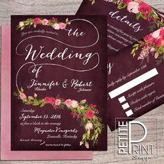 Floral Wedding Invitation, Printable Wedding Invitation, Invitation Suite, Plum, Burgundy, Blush, Roses, Autumn Wedding Invitation, DIY