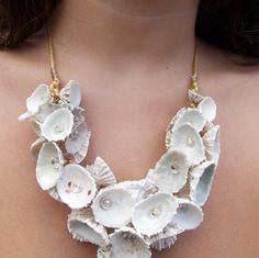 Jewelry Making Shells Natural sea shell and silk necklace Seashell Jewelry, Seashell Necklace, Seashell Art, Seashell Crafts, Shell Necklaces, Beach Jewelry, Beaded Necklace, I Love Jewelry, Jewelry Art