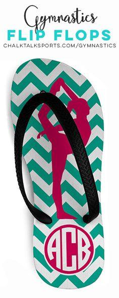 Gymnastics Flip Flops Chevron Monogram GM-00113