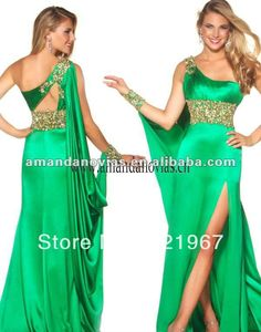 Elegant chiffon green evening dresses long PLU 024-in Evening Dresses from Apparel & Accessories on Aliexpress.com