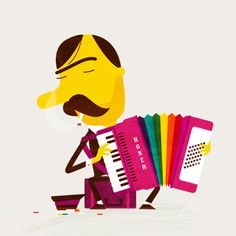 Cute drawing of a man with a Hohner (spelt differently!)