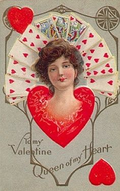 Woman's Head Appears from Heart, Hearts Playing Cards Behind, To My Valentine, Queen of my Heart Postcard Illustration Tattoo, Vintage Illustration Art, Graphic Design Illustration, Valentine Cupid, My Funny Valentine, Valentine Stuff, Valentine Images, Valentine Ideas, Victorian Valentines
