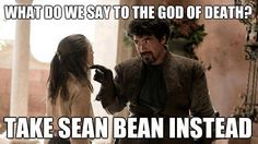 """Game of Thrones """"Take Sean Bean instead."""" Syrio Forel and Arya Stark memes crack me up because he's so awesome! Winter Is Here, Winter Is Coming, Game Of Thrones Instagram, Eddard Stark, Ned Stark, Sean Bean, The North Remembers, Game Of Thrones Funny, Game Thrones"""