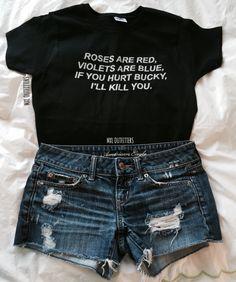 Comprar Cool Fashion Tshirt Black Tees Roses Are Red, Violets Are Blue, If You Hurt Bucky, I'll Kill You T-Shirt em Wish - Comprar ficou mais divertido Rose T Shirt, Red Shirt, Marvel Fashion, Geek Fashion, Disney Fashion, Marvel Dc, Marvel Clothes, Fandom Fashion, Bucky Barnes