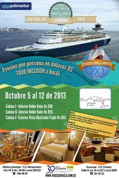 ULTIMAS CABINAS PULLMANTUR OCTUBRE 5 AL 12 !!  #crucero #caribe #vacaciones