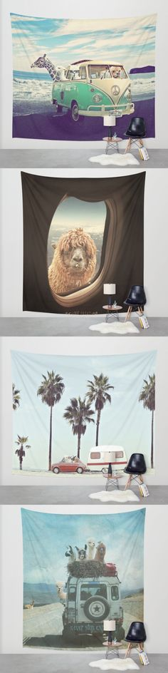 Alpaca my bags ...... ! Let`s go on an adventure with these funny alpacas and llamas!  *** *** *** Tapestries starting $39 in three sizes. original artwork by Monika Strigel for Society6.