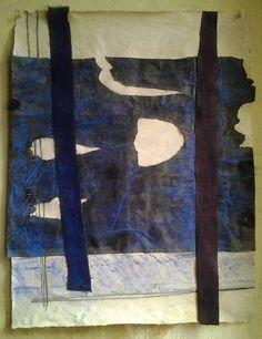 catherinewillis:  INDIGO WINDCollage.Yemeni indigo textile, Chinese indigo textile, graphite, pastel, on paper. 2014