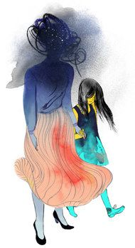 Angie Wang, this was in the New Yorker's Sunday Review a few weeks back!! The article was postulating whether depression can be inherited (nature or nurture argument) or if a parent with depression will inevitably instill depressive behavior's in their child. Angie Wang's illustration is perfect!