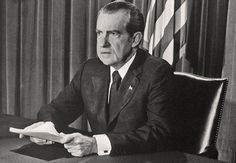 President Richard M. Nixon announces his resignation August 8, 1974.