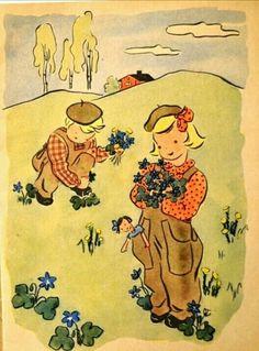Inga Havig-Gjelseth barnebokillustrasjon Et år med Per og Inger Oppi/Grøndahl 1940-tallet