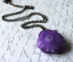 Geode Necklace Bright Purple Stalactite Gunmetal Natural Jewelry Urban Fashion, Found Treasure. $28.00, via Etsy.