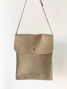Taupe leather messenger flap-over crossbody bag
