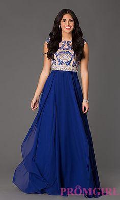 Floor Length Cap Sleeve Lace Embellished Dress at PromGirl.com