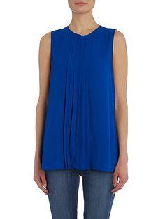 Front pleat woven blouse
