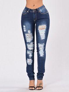 Dark Blue Middle-waist Skinny Shredded Ripped Jeans with Four Pockets Jeans Denim, Jeans Skinny, Denim Shirt, Ripped Jeans, Skinny Fit, Denim Fashion, Look Fashion, Leopard Fashion, Fashion Night