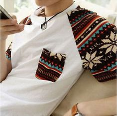 Cool Korean Fashion Mens Summer Top Short Sleeve Boy Round Neck T-shirt M-XXL. Good for Spring and Summer