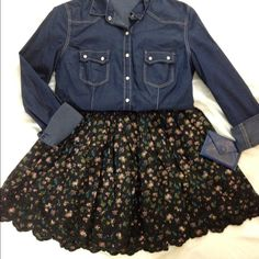 Floral Skirt Black floral skirt with embroidery at bottom  Elastic waist Forever 21 Skirts A-Line or Full