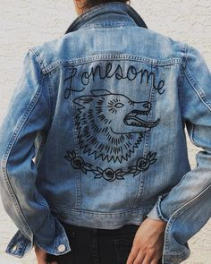0d9a197f3c Eradura Hand Embroidered Lonesome Wolf Denim Jacket Diy Denim