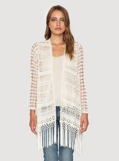 Johnny Was Clothing 4 Love and Liberty cotton crochet STEVIE CROCHET FRINGE JACKET in Ecru