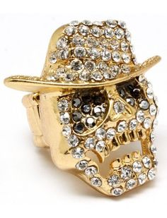 GOLD CRYSTAL SKULL IN COWBOY HAT LADIES FASHION STRETCH RING - Unusual Rings - Rings - Jewellery