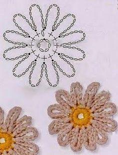 Tecendo Artes em Crochet: Flores Lindas com Gráficos! Weaving Crochet Arts: Beautiful Flowers with Graphics! Art Au Crochet, Crochet Motif, Easy Crochet, Crochet Stitches, Knit Crochet, Crochet Daisy, Patron Crochet, Irish Crochet, Crochet Flower Tutorial