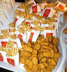 food Chicken Nuggets & French Fries Bring out at so guests can soak. - food Chicken Nuggets & French Fries Bring out at so guests can soak up alcoho… – S - I Love Food, Good Food, Yummy Food, Free Fast Food, Sleepover Food, Tumblr Food, Junk Food Snacks, Food Dinners, Food Goals