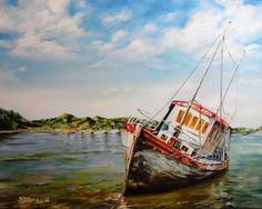"""""""Grey Lady"""" Conwy Harbour in North Wales UK looking across to Deganwy Oil on canvas 16"""" x 20"""""""