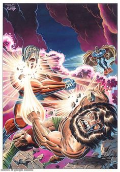 Darkseid's sons Orion and Kalibak battle as the Black Racer swoops in to gather the soul of the loser New Gods #11 Cover Tribute Comic Art - Giorgio Comolo