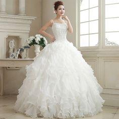 Love Weiyi winter 2014 new Korean version of the elegant shoulder wedding dress bridal pearl princess tutu