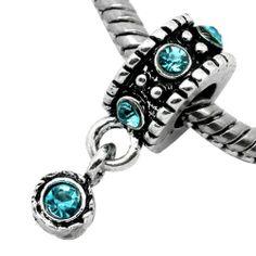 "December Birthstone Blue Topaz Turquoise Rhinestone Charm Dangle "" Antique'd Silver Bead Charm Spacer Pandora Troll Chamilia Biagi Bead Compatible SEXY SPARKLES,http://www.amazon.com/dp/B00AEXLQ8I/ref=cm_sw_r_pi_dp_QZagtb0KDVWTX438"