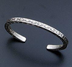 Geneva Ramone (Navajo) - Stamped Square Wire Sterling Silver Cuff Bracelet #8830A $190.00