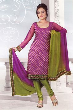 Purple Green Banaras Salwar Suit