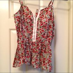 Floral corset tank top Colorful floral patterned corset style tank top Forever 21 Tops Tank Tops