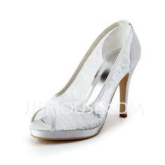 Wedding Shoes - $79.99 - Women's Lace Satin Cone Heel Peep Toe Platform Sandals (047011847) http://jjshouse.com/Women-S-Lace-Satin-Cone-Heel-Peep-Toe-Platform-Sandals-047011847-g11847