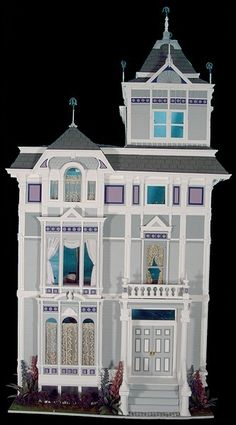 San Francisco Townhouse Exterior inspired by a real San Francisco house pictured in a book. Scratch-built over a foamcore shell.