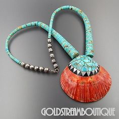 SANTO DOMINGO PUEBLO KEWA STERLING SILVER SPINY OYSTER TURQUOISE BEADS NECKLACE